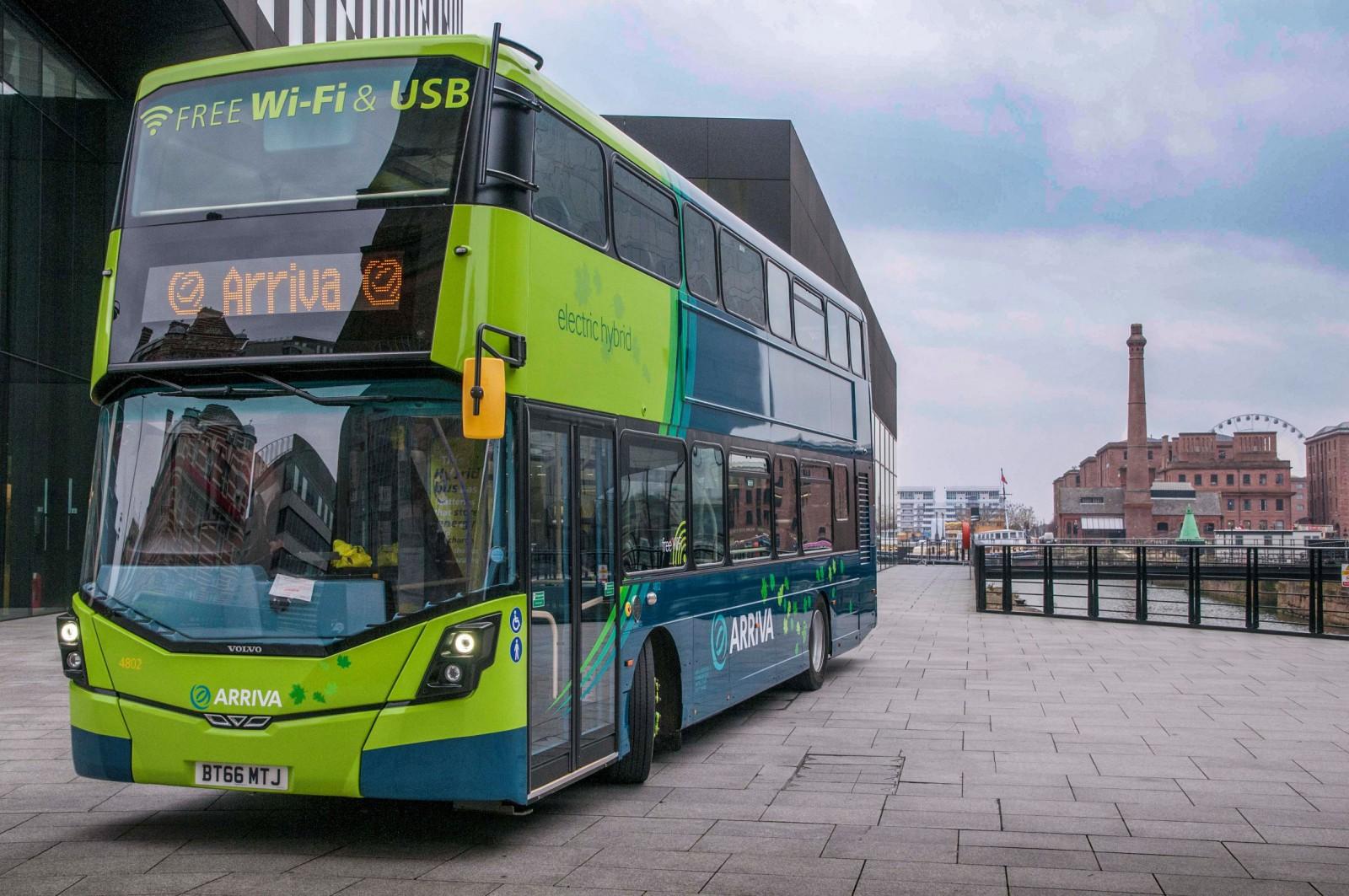 New Arriva Hybrid double decker buses announcement at Mann Island.